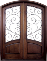 Aberdeen Burlwood 154x200 - Wood Doors with Iron Grilles