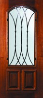 P15662WW  Warwick Arch Light 89x200 - Wood Doors with Iron Grilles