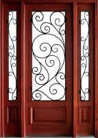 Wakefield Burlwood 143x200 - Wood Doors with Iron Grilles