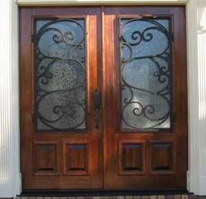 Wood Doors with Iron Grilles
