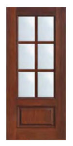 1 Panel 6 Lite SDL Door 681 151x300 - Fiberglass Doors Artisan Collection