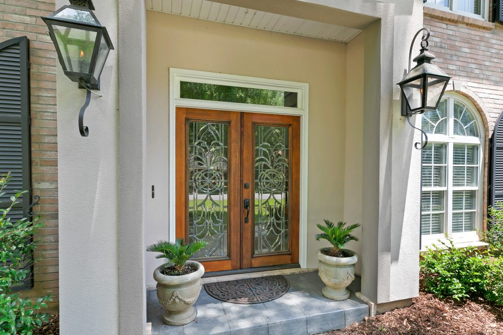 Leaded glass and wood doors