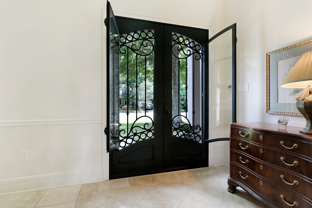 Wrought Iron Doors with Open Glass