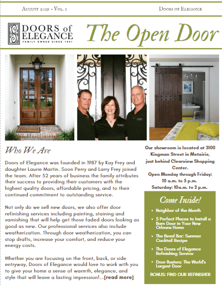 "Newsletter image - Introducing ""The Open Door"" - Doors of Elegance's Monthly Newsletter"