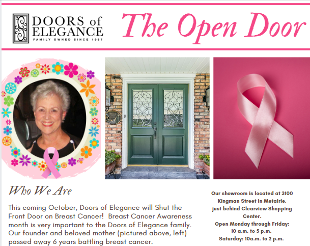 Preview Image - Join Doors of Elegance in our Fight to Help Shut the Front Door on Breast Cancer!