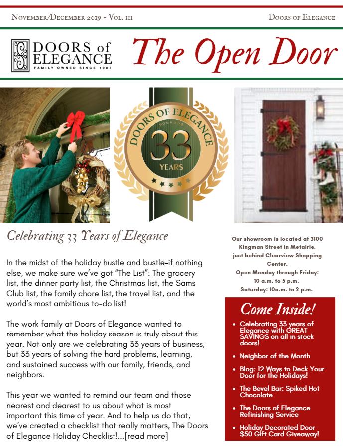 Open Door Vol. III Image - The Open Door Newsletter Vol. III: Celebrating 33 Years of Elegance with Great Savings!